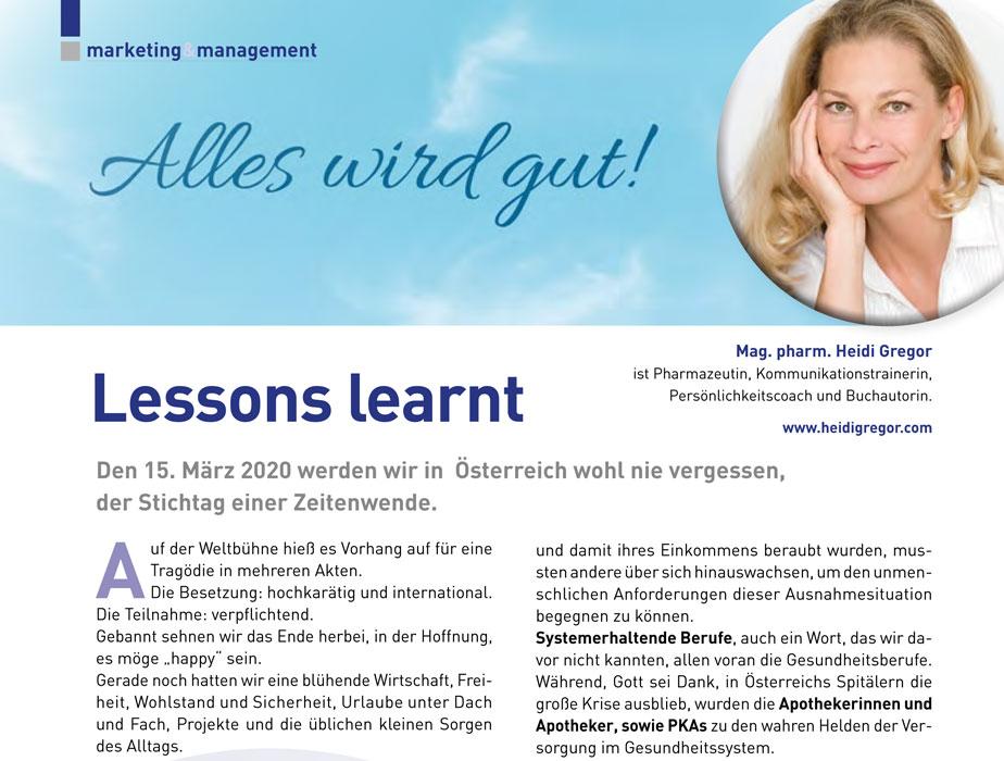 Lessons learnt - Heidi Gregor über das Corona-Virus